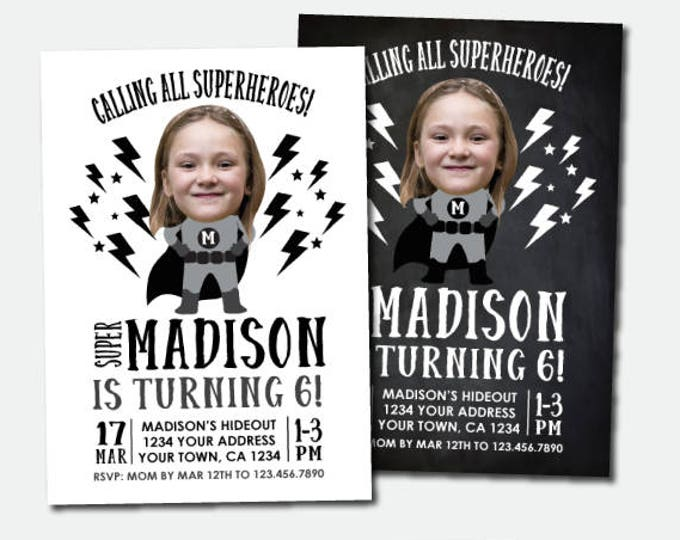 Superhero Invitation with photo, Superhero Girls Birthday Party, Black & White Invites, Personalized Digital Invitations, 2 options