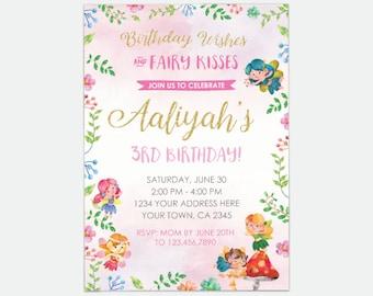 Fairy Birthday Invitation, Magical Invitation, Fairy Garden Birthday Party, Personalized Digital Invitations