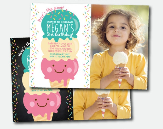 Ice Cream Birthday Invitation with photo, Ice Cream Party, Summer Birthday Party, Sprinkles Invite, Personalized Invitation, 2 options