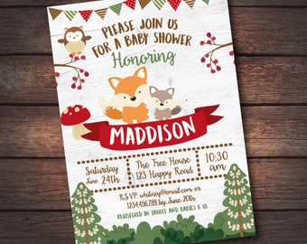 Woodland Baby Shower Invitation, Enchanted Forest Baby Shower Invitation, Woodland Baby Shower Invite, DIGITAL