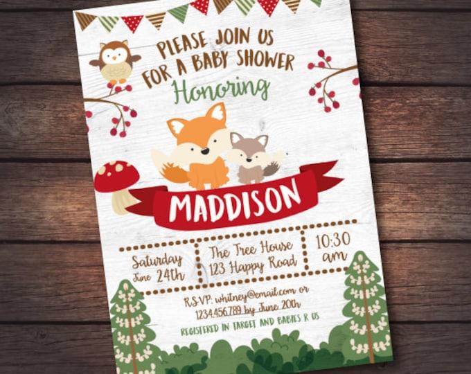 Woodland Baby Shower Invitation, Enchanted Forest Baby Shower Invitation, Woodland Baby Shower Invite, DIGITAL