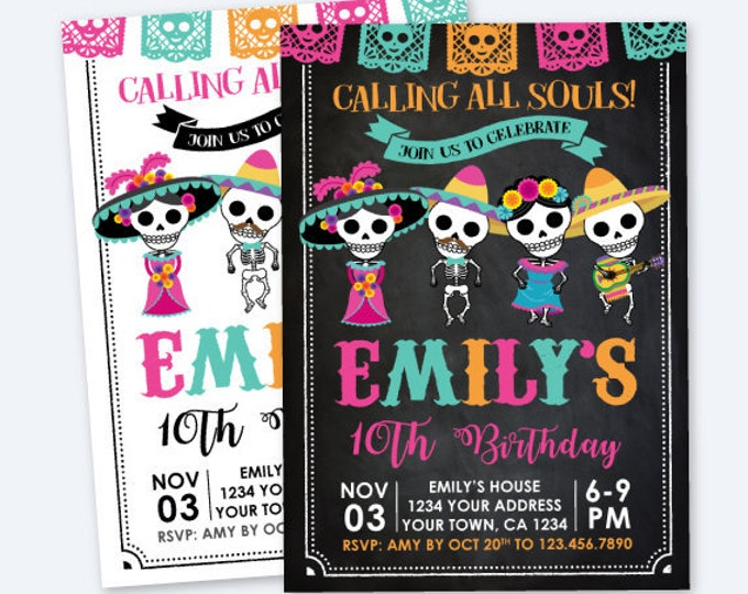 Day of the Dead Birthday Invitation, Dia de los Muertos Party, Sugar Skull Invitation, Personalized Printable DIGITAL Invite, 2 options