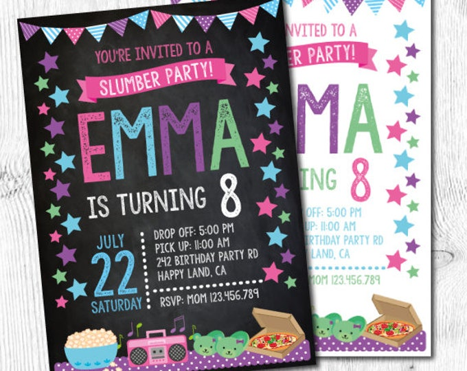 Pajama party Invitation, Sleepover Invitation, Slumber party invitation, Sleep Over Party, DIGITAL Invitation, 2 options