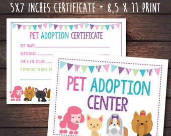 Puppy adoption certificate, Adopt a Puppy Print Pack, Printable files