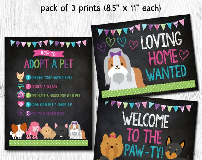Puppy Birthday Party, Pet Adoption Party, Puppy printables, Puppy adoption party, Digital files, 3 prints, Instant download