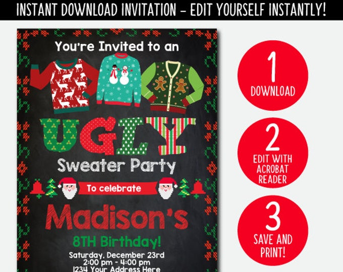 EDITABLE, Ugly Sweater Invitation, Holiday Party Invitation, Christmas Party, Christmas Birthday Invitation, Instant Download, DIGITAL