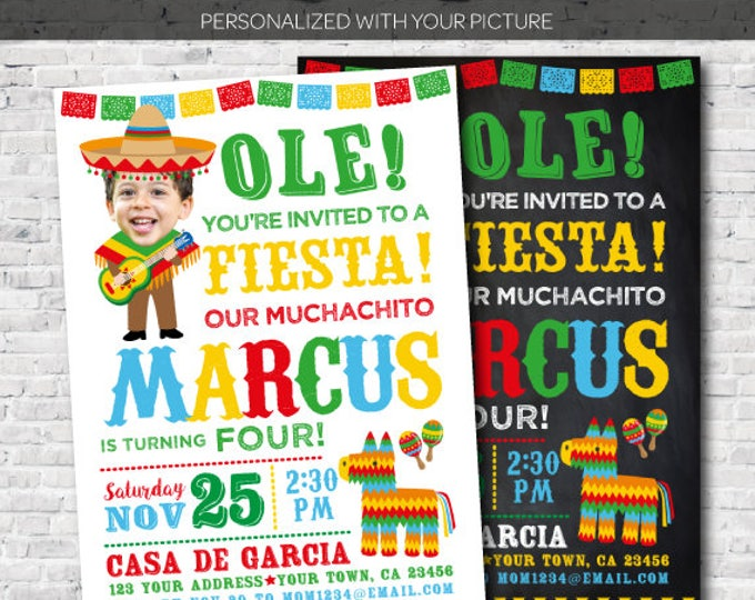 Fiesta Birthday Invitation with your picture, Muchacho Invitation, Mexican Birthday Invitation, Digital Invite, 2 Options