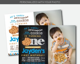 Cookie Invitation with photo, Little Cookie Birthday Invitations, Cookie Party Invitation, First Birthday Invitation, Personalized Invite