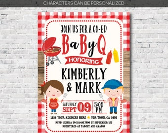 bbq baby shower invitation, Babyq Invitations, Barbecue Invite, Digital Files, You Print!