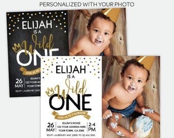 Wild One Invitation with photo, Boy Birthday Party, First Birthday Invitation, King of all wild things, Personalized DIGITAL Invitations