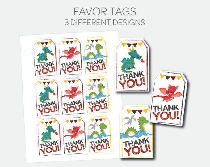 Dragon Thank You Tags, Printable Favor Tags, Dragon Birthday Party Decorations, Knight Favor Tags, Digital Printable Tags, INSTANT DOWNLOAD