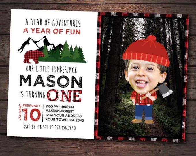 Lumberjack Birthday Invitation with photo, Lumberjack Invitation, Winter Birthday Party, Personalized DIGITAL Invitation, 2 Options