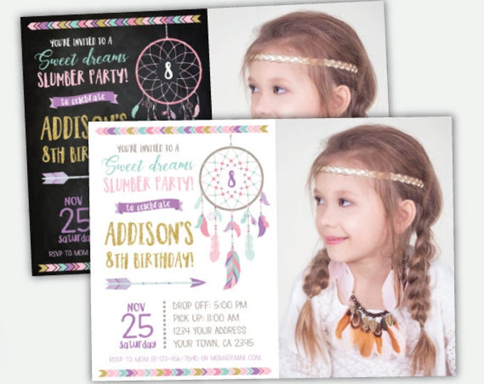 Dreamcatcher Pajama party Invitation with photo, Sleepover Invitation, Slumber party, Sweet dreams Party, DIGITAL Personalized, 2 options
