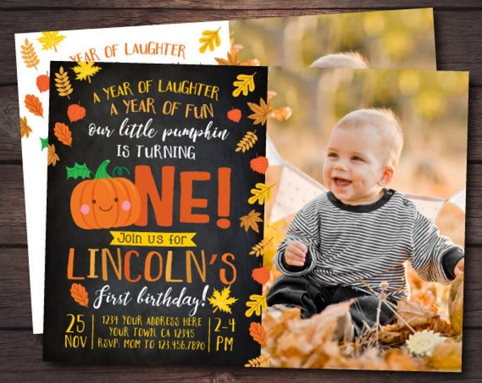 Little Pumpkin First Birthday Invitation with picture, Pumpkin Invitation, Autumn Birthday Party, DIGITAL personalized invites, 2 Options