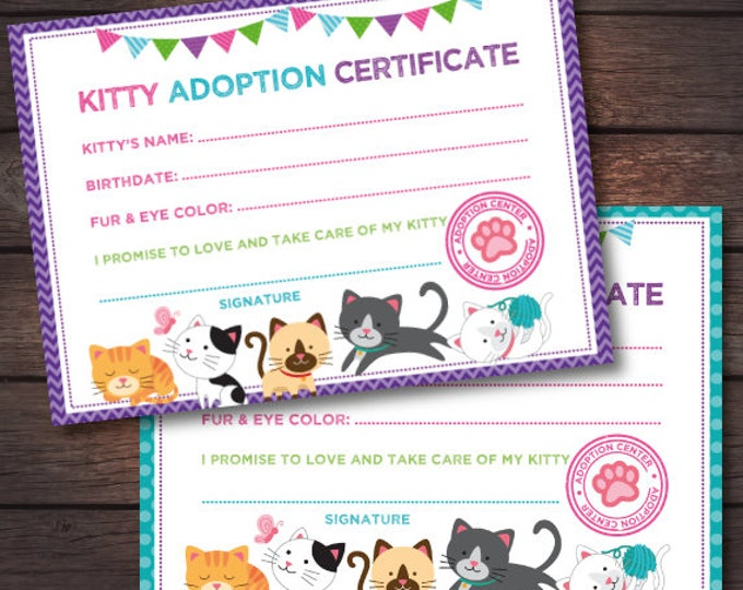 Kitty Cat Birthday, Kitten adoption certificate, Cat adoption birthday, Kitty birthday, Digital files, Instant download