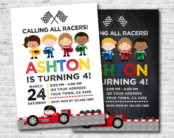Racing car birthday invitation, Racing invitation, Race car invitations, DIGITAL, 2 Options