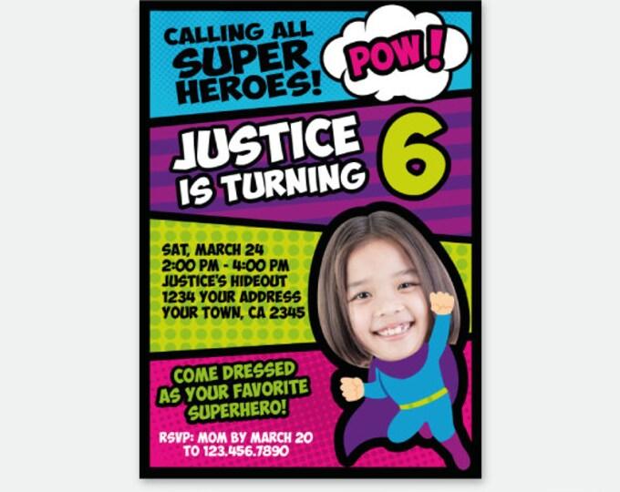 Superhero Girl Invitation with Photo, Superheroes Birthday Party, Superhero Invite, Personalized Digital Invitation