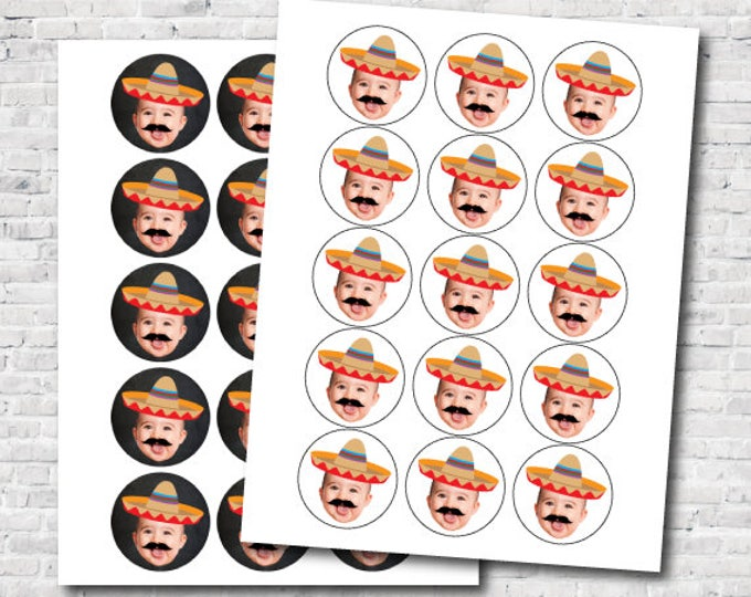 Personalized Toppers with picture, Fiesta 1st Birthday, Baby Muchacho Birthday Party, Custom Stickers, DIGITAL Personalized item