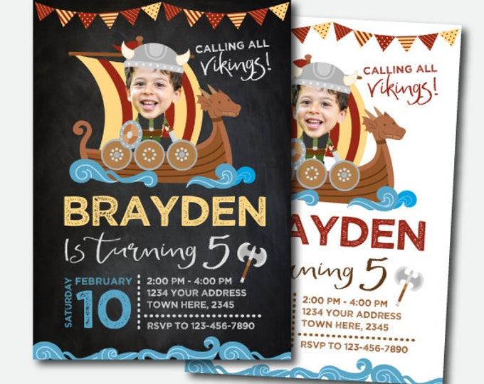 Viking Invitation with photo, Viking Birthday Party, Viking Boat Invitation, 2 options, DIGITAL Personalized Invites