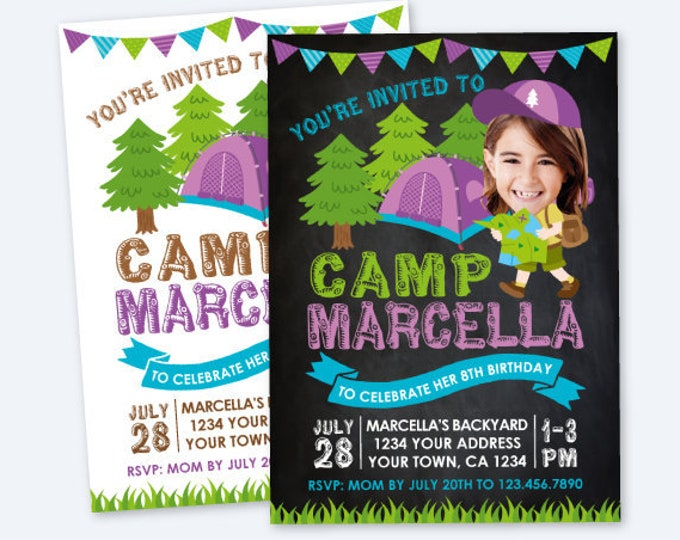 Camping Invitation with Photo, Summer Camp Birthday Party, Sleepover Invitation, Outdoors Birthday Party, Personalized Digital Invitation