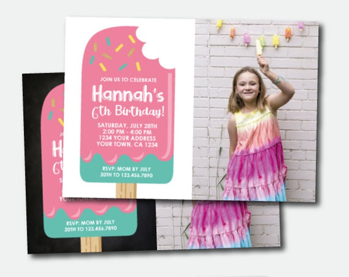 Popsicle Invitation with photo, Ice Cream Party, Popsicle Birthday Party, Here's the scoop Invite, Personalized Invitation, 2 options