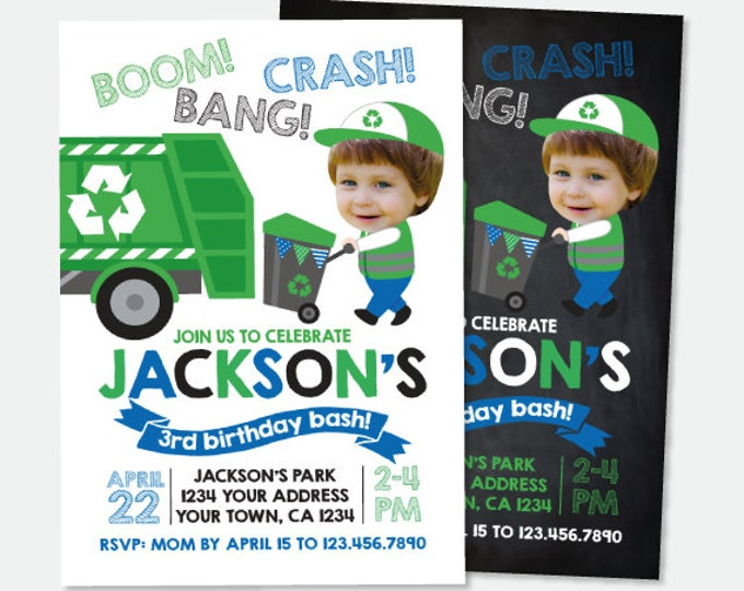 Trash Truck Invitation with Photo, Gargabe Truck Birthday Party, Recycle Birthday Invitation, Personalized Digital Invitation, 2 Options