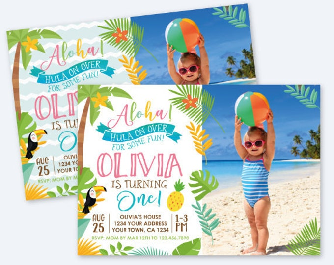 Luau First Birthday Girl Invitation with Photo, Hawaiian Birthday Party, Summer Birthday Party, Personalized Digital Invitation, 2 options