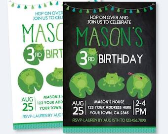Frog Birthday Invitation, Any age, Pond Invitation, Animal Birthday Party, 1st Birthday Party Personalized Invitation, 2 options