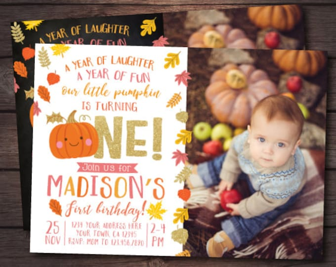 Little Pumpkin First Birthday Invitation with picture, Pumpkin Girl Invitation, Autumn Birthday, DIGITAL personalized invites, 2 Options