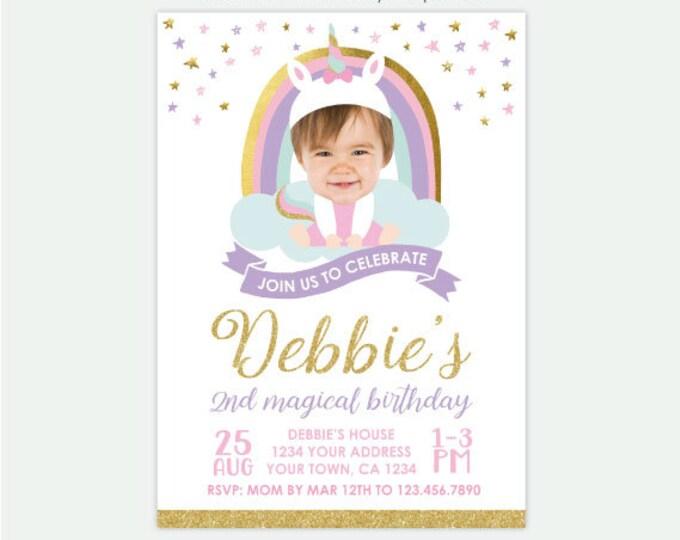 Unicorn Birthday Invitation with Photo, Rainbow Birthday Invitation, Magical Birthday Party, Any age Personalized DIGITAL Invitations