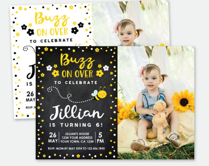 Bee Birthday Invitation with Photo, Bee Birthday Party, Personalized Digital Invitation, 2 options