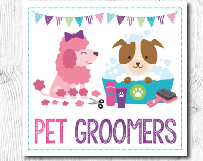 Pet Groomers, Pet Id, Name tags, Pack of 3 printables, Digital files, Instant download