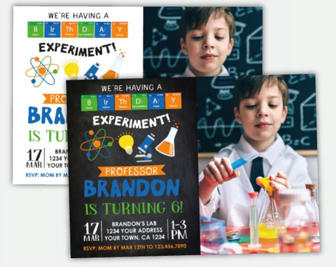 Science Birthday Invitation With Photo, Mad Scientist Party, Science Boys Invitation, Personalized Digital Invitation, 2 options