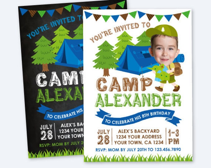 Camping Invitation with Photo, Summer Camp Party, Sleepover Invitation, Backyard Birthday Invitation, Personalized Digital Invitation