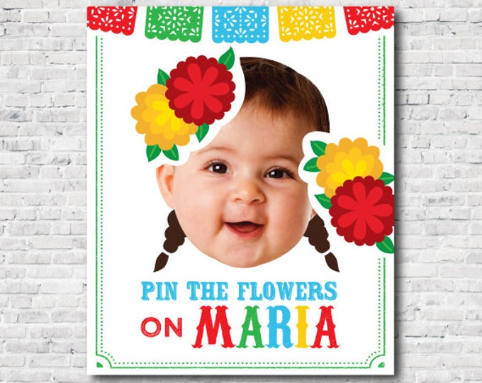 Pin the flowers game, Fiesta 1st Birthday, Mexican Birthday Party, Girl Birthday Party, Chalkboard Poster, DIGITAL Personalized item