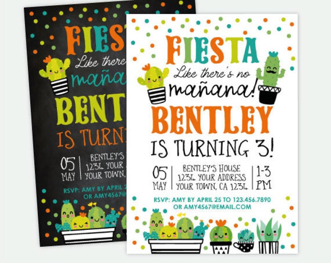 Succulent Birthday Invitation, Fiesta Birthday Party, Cactus Birthday Invitation, Personalized Digital Invite, 2 Options