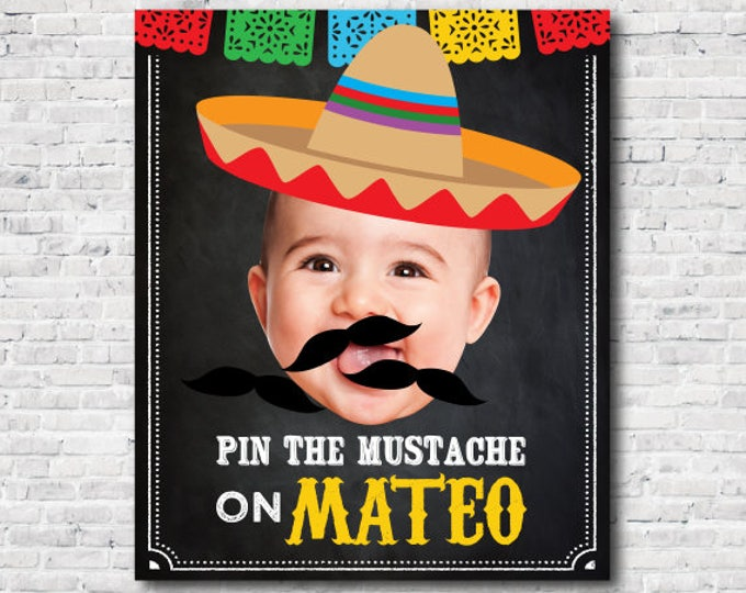 Pin the mustache game, Fiesta 1st Birthday, Mexican Birthday Party, Chalkboard Poster, DIGITAL Personalized item