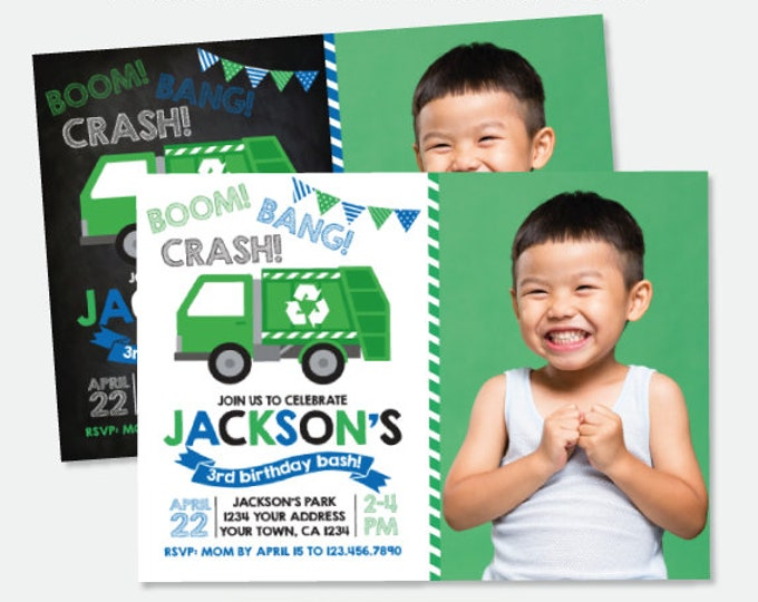 Garbage Truck Invitation with Photo, Trash Truck Birthday Party, Recycle Birthday Invitation, Personalized Digital Invitation, 2 Options