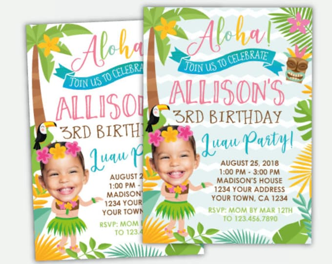 Luau Invitation with Photo, Beach Birthday Invitation, Summer Birthday Party, Personalized Digital Invitation, 2 options