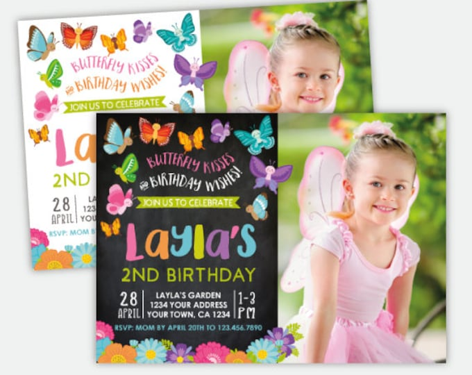 Butterfly Invitation with Photo, Spring Birthday Party Invites, Garden Invitation, Personalized Invitation, 2 options