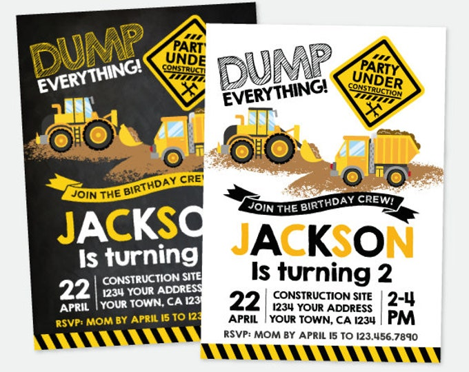 Construction Birthday Invitation, Construction Truck Birthday Party, Dump truck Invitation, Personalized Digital Invitation, 2 options