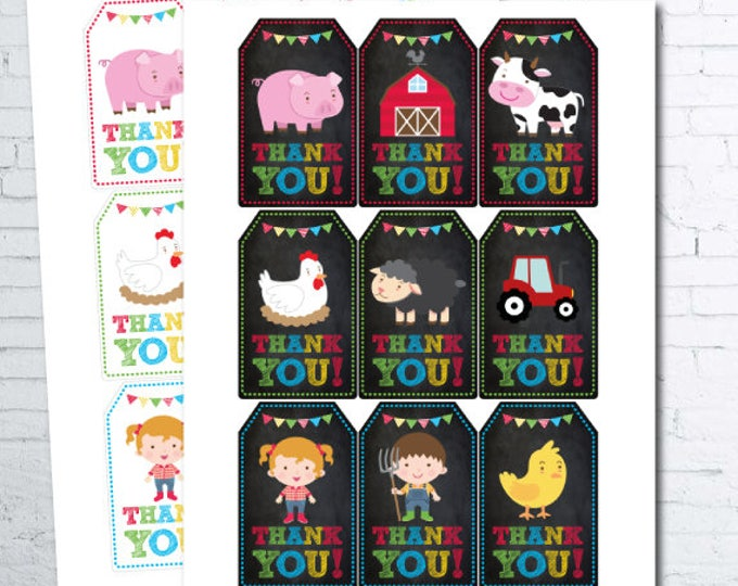 Farm Thank You Tags, Farm Favor Tags, Farm Birthday Party, Cow Birthday, Printable tags, DIGITAL, Instant Download