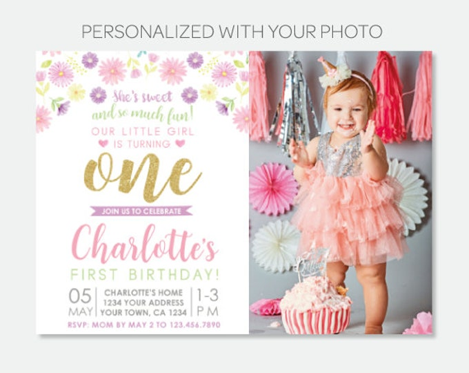 Floral First Birthday Invitation with Photo, Garden Birthday Party, Summer Spring Invitation, Any Age, Personalized Digital Invitation
