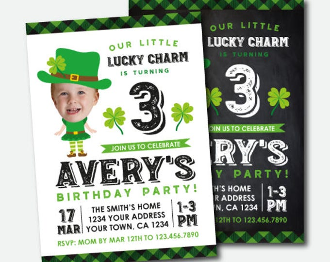 St Patrick Day Birthday Invitation with photo, Girls Invitation, Lucky Charm Invitation, St Patricks Day Party, Personalized DIGITAL Invite