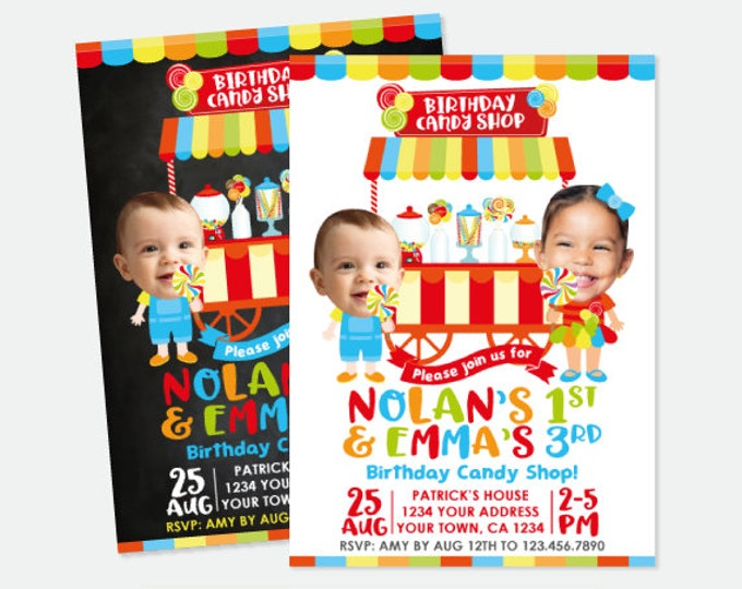 Candy Siblings Birthday Invitation with Photo, Candy Shop Birthday Party, Sweet Shop Invitate, Personalized Printable Invitation, 2 options