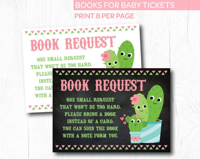 Cactus Baby Shower, Books For Baby Insert, Baby Shower Games, Bring a Book Baby Shower Insert, Instant Download