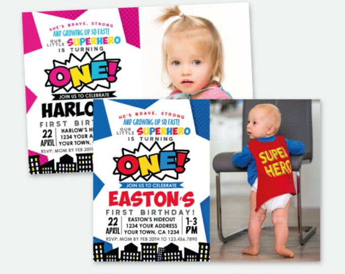 Superhero First Birthday Invitation with picture, ANY AGE, Superheroes Birthday Party, Personalized Digital Invitation