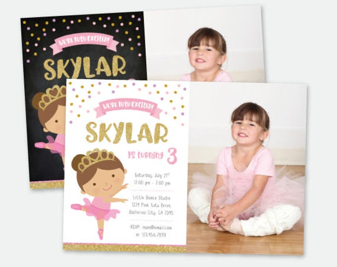 Ballerina Birthday Invitation with Photo, Ballet Invitation, Pink & Gold Personalized Digital Invitation