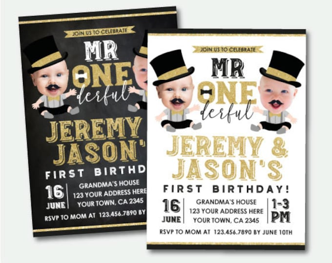 Mr Onederful Twins First Birthday Invitation with Photo, Boys 1st Birthday, Personalized Digital Invitations, 2 options