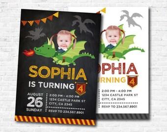 Dragon Birthday Invitation with photo, Dragon Birthday Party, Knight Invitation, Medieval Birthday Party, Personalized Digital Invite